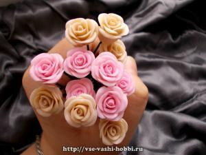 Розы из полимерной глины мастер-класс