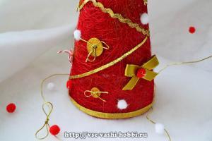 Новогодняя ёлочка из сизаля