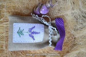Мешочек изо льна с вышивкой