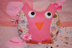 Подушка - сова из фетра и хлопка